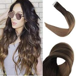 Full Shine PU Tape in Human Hair Extension 20pcs 50g Brown Ombre Balayage Color