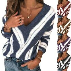 Women Knitted Color Block V Neck Long Sleeve Sweater Casual Pullover Jumper Tops
