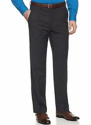 Alfani RED Slim Fit Charcoal Gray Striped Flat Front Wool Blend Dress Pants