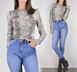 Women#x27;s Semi Sheer Snake Print Long Sleeve Stretch Top Shirt Fitted Sexy Mesh $9.99