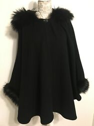 St John Black WoolCashmere Cape w Fur collarcuffs OS Outstanding Condition