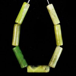 7PcsSet 14x4mm Lemon Jade Column Pendant Bead J18912