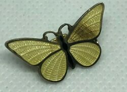 VINTAGE SMALL Yellow enamel BUTTERFLY Brooch PIN 1""