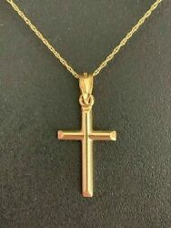 Solid 14k Yellow Gold Cross Ladies 0.5x1quot; Necklace Pendant Charm W. Rope Chain $83.74
