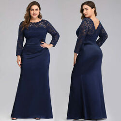 Ever-Pretty US Plus Size Long Lace Evening Gown Mother Of Bride Party Prom Dress $35.99