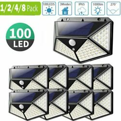 100LED Solar Powered PIR Motion Sensor Light Outdoor Garden Security Flood Lamp $3.99