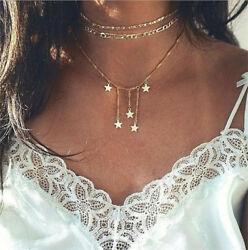 1pcs Women Multilayer Gold Choker Star Crystal Chain Pendant Necklace Jewelry
