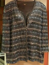 St JOHN GALA Beaded Jacketcoat STUNNING! Elegant Topper! Size 16 Gorgeous Color