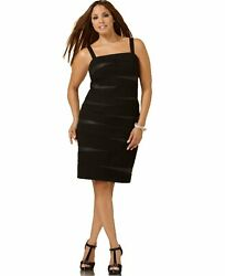 NWOT $109 INC Macys Size 14W Faux Leather Bandage Black Party Dress Plus Size $99.00