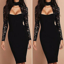 Womens Lace Long Sleeve Bodycon Dress Elegant Evening Party Cocktail Club Dress