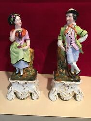 ANTIQUE STAFFORDSHIRE PAIR LADY & GENTLEMAN SPILL VASES 10 inch TALL
