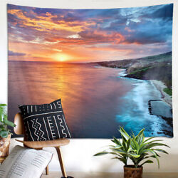 Tropical Ocean Sunset Scenery Tapestry Wall Hanging Living Room Bedroom Decor $13.99