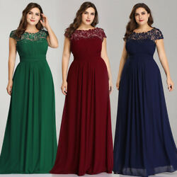 Ever-Pretty US Plus Size Long Evening Prom Dresses Lace Backless Bridesmaid Gown