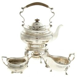 Three Pieces George V Sterling  Silver Tea Kettle & Stand and two creamers