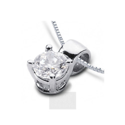 1 14ct F VS2 Round Earth Mined Certified Diamond 18k  Classic Solitaire Pendant