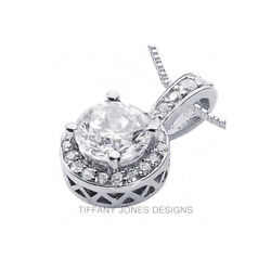 2 12 CT D SI1 Round Cut Earth Mined Certified Diamonds 18k Gold Halo Pendant
