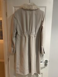 Stunning French Connection Woolcashmere Coat With Fur Collar Size 12