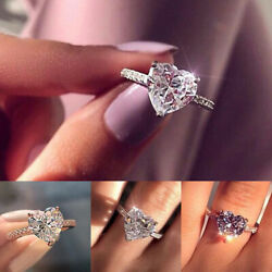 Women Crystal Heart Shaped Rings 925 Sterling Silver Ring Ladies Engagement Gift
