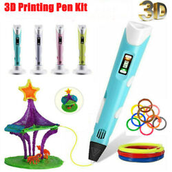3D Printing Pen Drawing Crafts Kids Adults Children Art + 5M10M PLA Filament FK