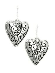 Brighton Beach Silver tone Filigree Drop Heart Earrings