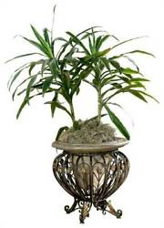 Floor Planter w Basket Stand in Brass [ID 4924]