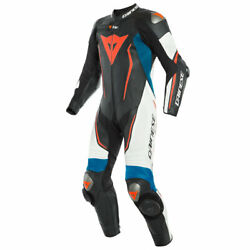 Dainese Misano 2 D-Air Perforated Leather Suit Black  White  Light Blue