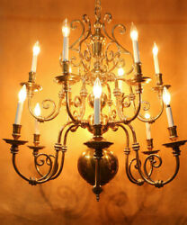 HUGE DUTCH COLONIAL STYLE ELECTRIFIED BRASS  SCROLL BULBOUS CHANDELIER