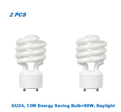 2 Bulbs Twister GU2413W Energy Saving Bulb= 60W Day Light 5000K UL Listed $10.95