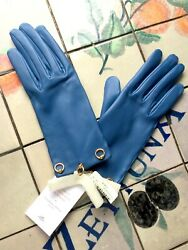 100% AUTHENTIC NWT HERMES Sz 65 Blue D#x27;agate Lambskin Gloves Tiny Rings RECEIPT $649.00