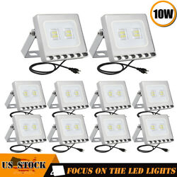 10x10W LED Flood Light Garden Path Outdoor Security Lamp US Plug 110V Cool White