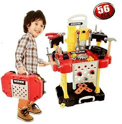 Kids Construction Workbench Toy Toddler Tool Bench Workshop Boys Drill Set