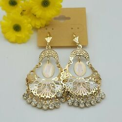 Our Lady Guadalupe Chandelier Earrings Tri Color Gold Plated Virgen Guadalupe $12.49