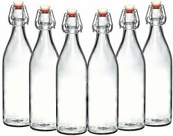 Set of 6-33.75 Oz Giara Glass Bottle with Stopper Caps Carafe Swing Top Bottles