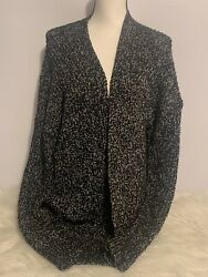 Maurices BlackWhite Open Front Cardigan Sweater Women's Size Large NWT