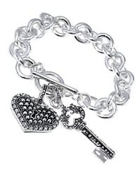 Brighton Beach Filigree Silver-tone Heart Lock & Key Bracelet WCrystal Accents