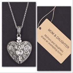 BRIGHTON BEACH MOM & DAUGHTER FILIGREE HEART ENGRAVED MESSAGE LOCKET NECKLACE
