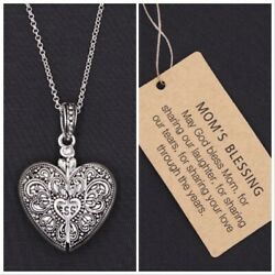 BRIGHTON BEACH MOM  MOTHERS FILIGREE HEART ENGRAVED MESSAGE LOCKET NECKLACE