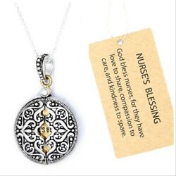 BRIGHTON BEACH SILVER GOLD NURSE FILIGR ROUND ENGRAVED MESSAGE LOCKET NECKLACE