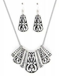BRIGHTON BEACH SILVER FILIGREE NECKLACE & EARRINGS