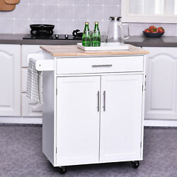 HomCom Wooden Rolling Kitchen Trolley Island Storage Cart Trolley Cabinet with