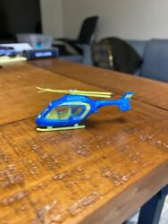 Fast Lane Police Helicopter Toy Blue Neon Yellow EM Loose Diecast Small Kids $5.00
