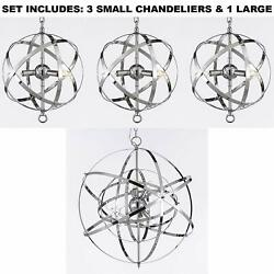 Set of 3 Over Island with ONE Large Over Kitchen Table Wrought Chrome Orb $783.35