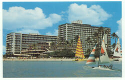 Sail Boats The Reef Hotel Waikiki Beach Hawaii Postcard