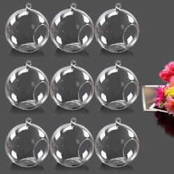 9Pcs Flower Glass Hanging Vase Ball Air Plant Terrarium Container Candle Holders