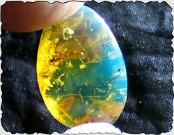 Dominican Natural Clear Sky Blue Amber Cabochon 21x14x6mm 5cts