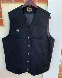 Mens WYOMING TRADERS Gray Wool Vest Worn ONCE! Charcoal Gray. Size L