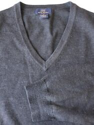 Brooks Brothers 346 Stretch Charcoal Gray V-Neck Merino Wool Blend Sweater XL
