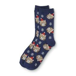 Holiday Novelty Crew Socks Women#x27;s Shoe Size 4 10 Navy Cats With Hats 1 Pair NEW $9.26