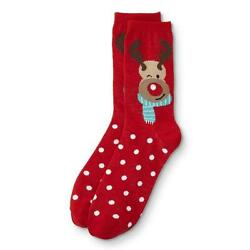 Holiday Novelty Crew Socks Women#x27;s Shoe Size 4 10 Red Nose Reindeer 1 Pair $9.26