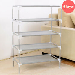 5 Tier Metal Shoes Rack Stand Storage Organizer Shelf Holder Stackable Closet $13.98